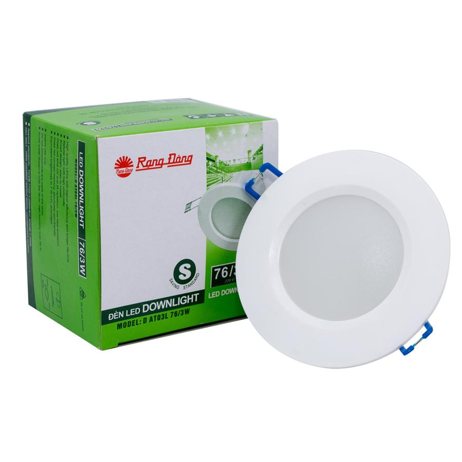 12 Đèn led âm trần 3W Rạng Đông - LED downlight D AT06L 76/3w - Ánh sáng trắng