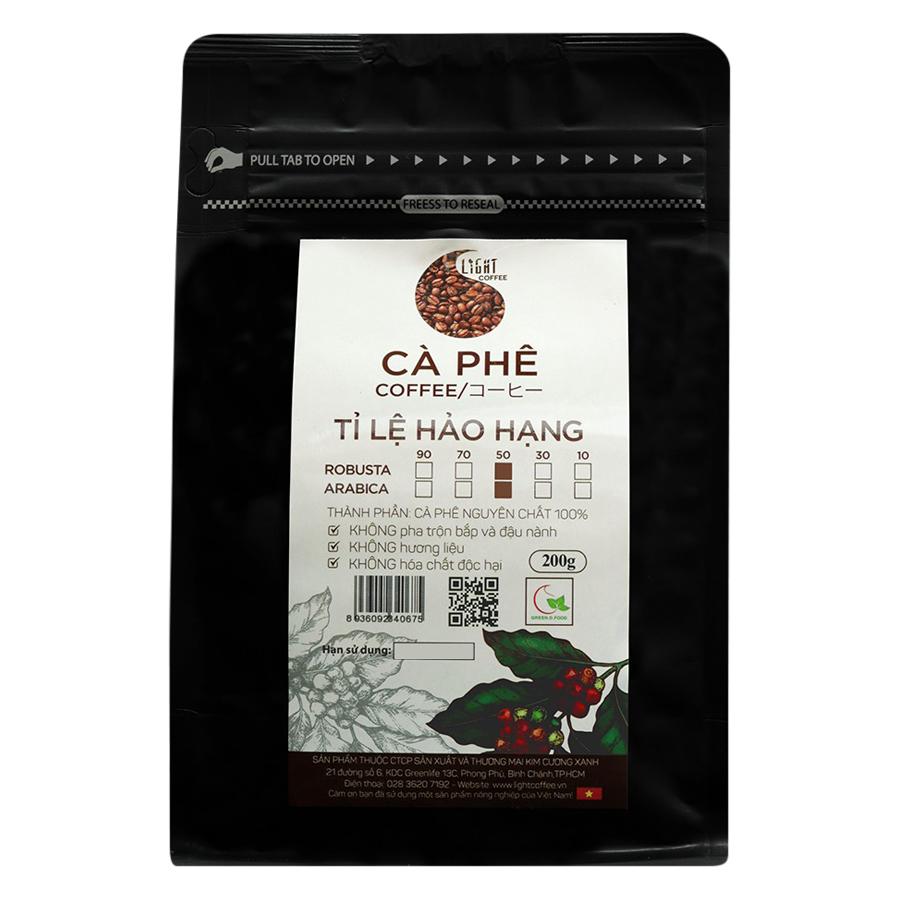 Cà Phê Hạt Nguyên Chất Tỉ Lệ Hảo Hạng 50% Robusta Và 50% Arabica Light Coffee 5R5AHH200 (200g / Gói) - 879441 , 6411287542956 , 62_1385311 , 176000 , Ca-Phe-Hat-Nguyen-Chat-Ti-Le-Hao-Hang-50Phan-Tram-Robusta-Va-50Phan-Tram-Arabica-Light-Coffee-5R5AHH200-200g--Goi-62_1385311 , tiki.vn , Cà Phê Hạt Nguyên Chất Tỉ Lệ Hảo Hạng 50% Robusta Và 50% Arabica L