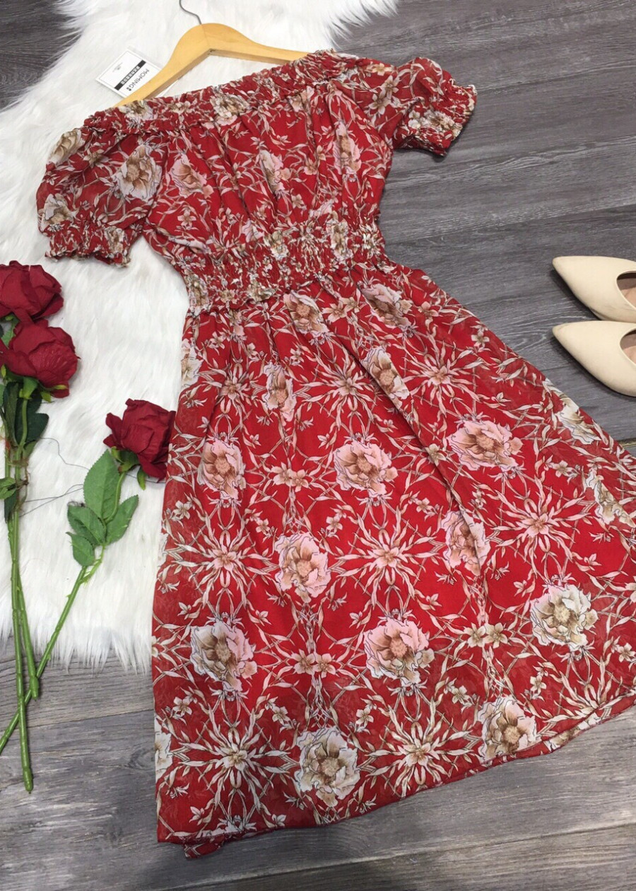 Váy Voan Hoa Trễ Vai