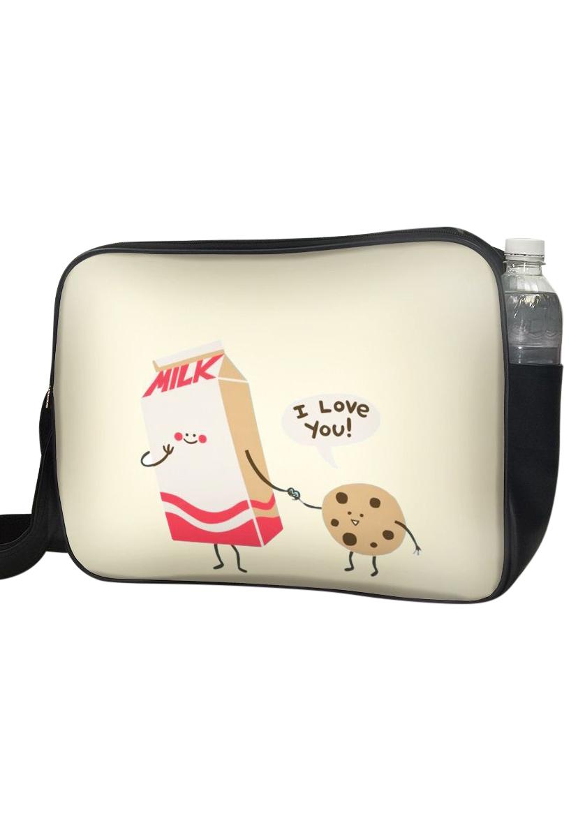 Túi Đeo Chéo Hộp Unisex In Hình Sữa Và Bánh I Love You - TCFO028