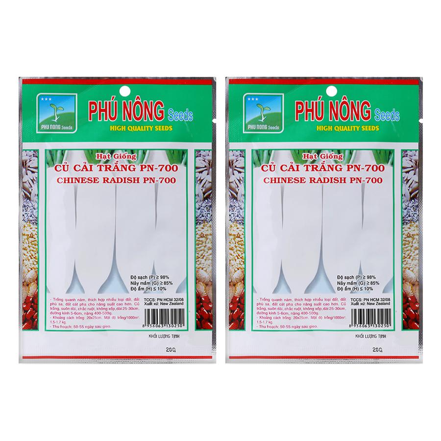 Bộ 2 Gói Hạt Giống Củ Cải Trắng F1 PN-700 Phú Nông (20g / Gói)