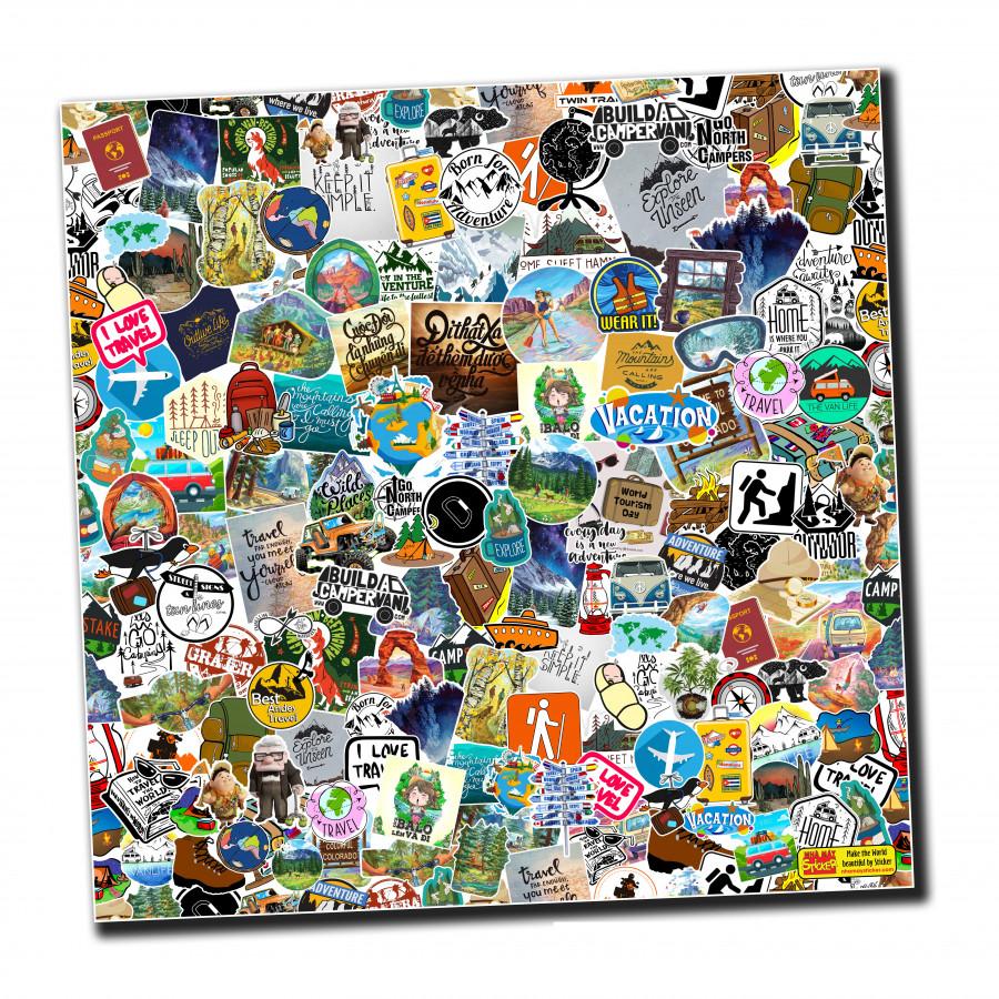 Sticker bomber hình dán nguyên tấm 50x50cm chủ đề - Travel