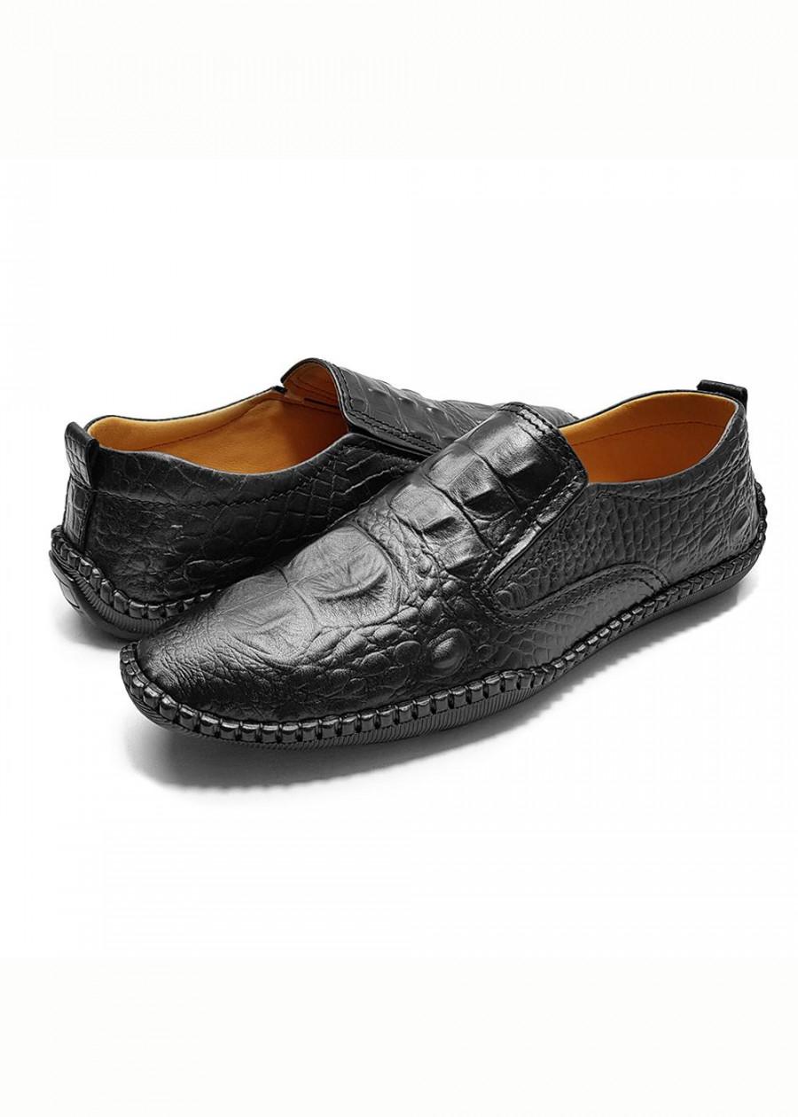Giày lười nam đẹp công sở siêu mềm da bò thật nguyên tấm cao cấp dập vân cá sấu độc đáo 2019 GL-06 màu đen