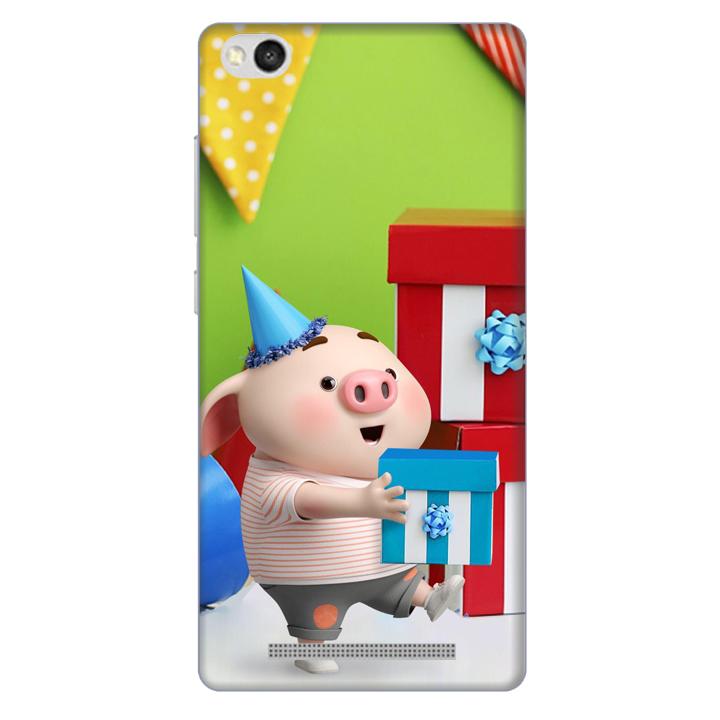 Ốp lưng nhựa cứng nhám dành cho Xiaomi Redmi 3 in hình Heo Con Mừng Sinh Nhật