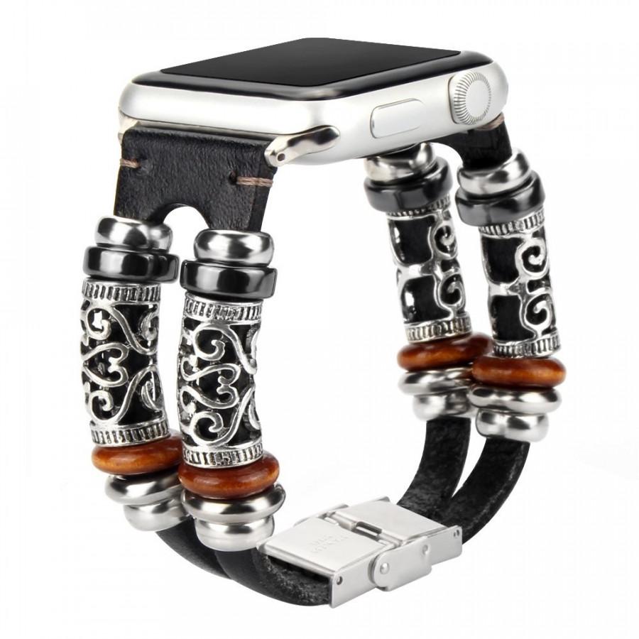 Dây đồng hồ Apple Watch 44mm/42mm/40mm/38mm, dây da handmade phong cách mẫu 02
