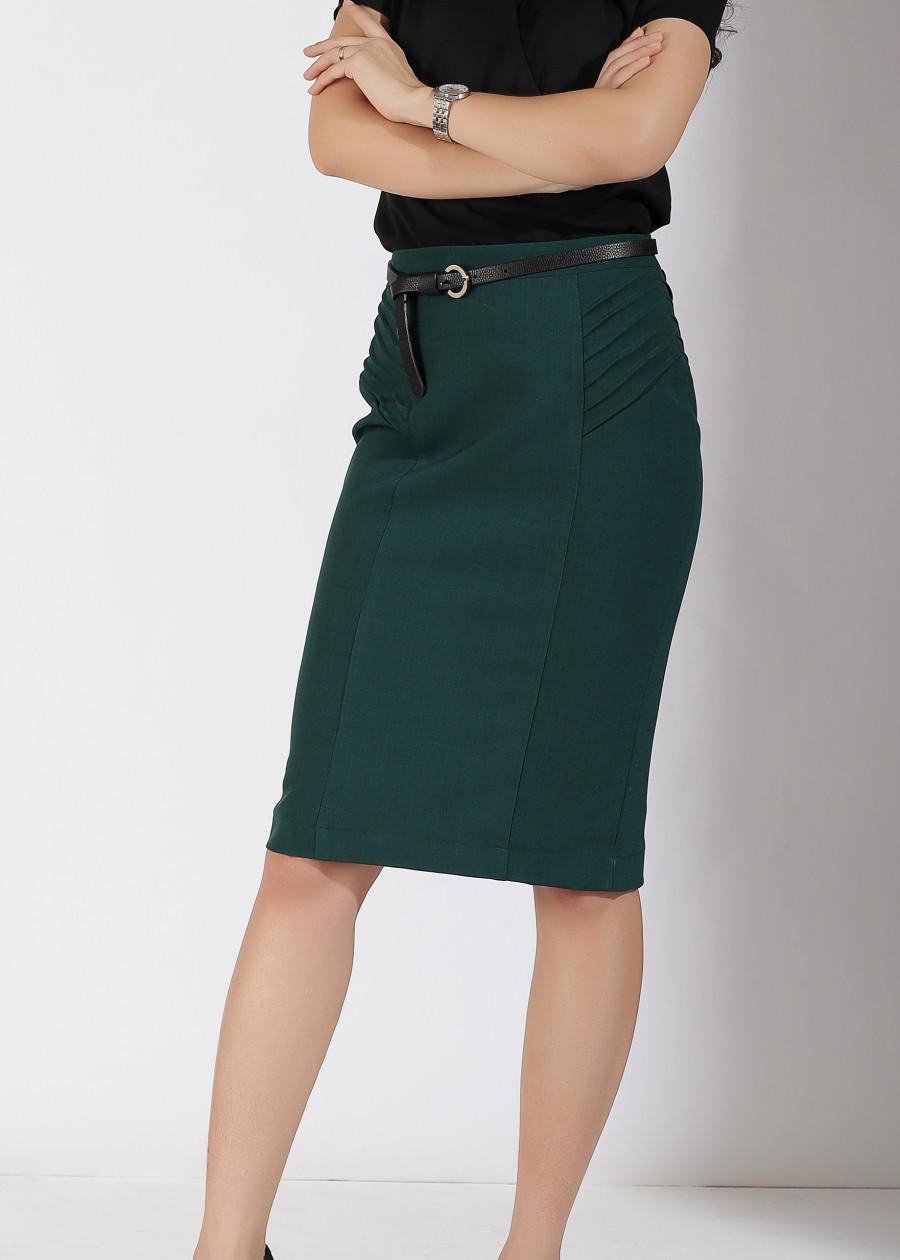 Váy BC 2L xếp ly 2 bên xanh rêu