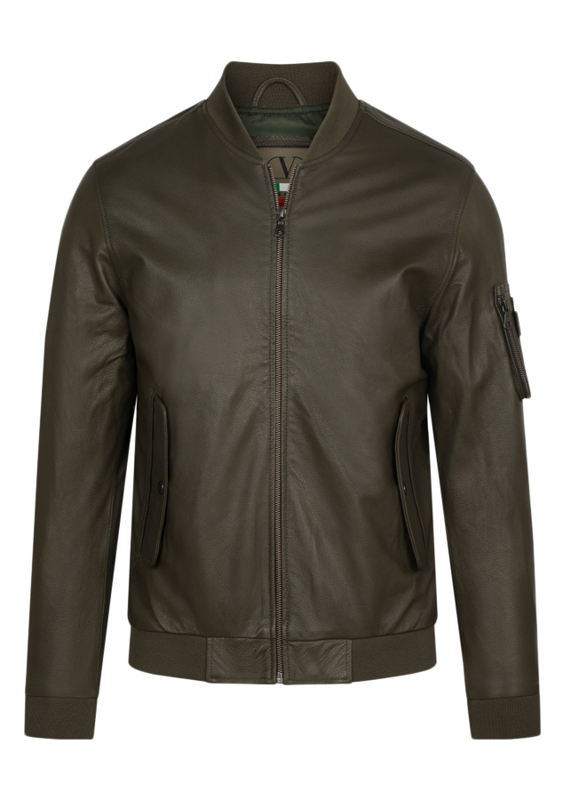 Áo Da Dê FTT LEATHER Dáng Bomber Green 10124520MS - U5