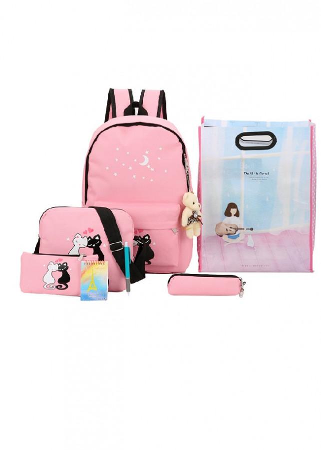 Bộ 4 ba lô thời trang nữ  Love Cat  Tặng kèm gấu+Túi+Bút+sổ tay mini