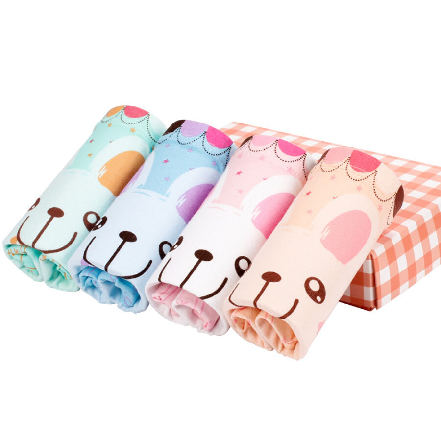 Red beans (Hodo) girls underwear in the big children A standard 4 boxed shorts K720 cute rabbit 110/55