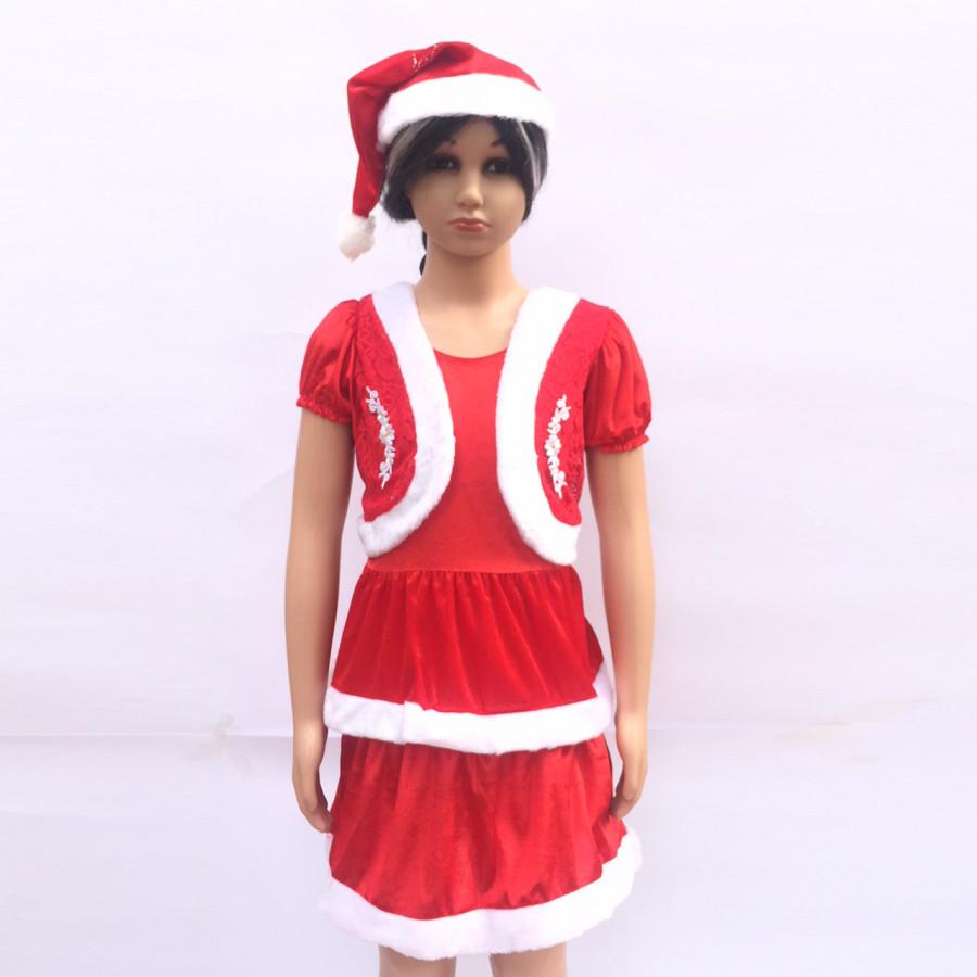 Set váy Noel 2 tầng kèm mũ cho bé ( Mẫu áo thêu hoa)