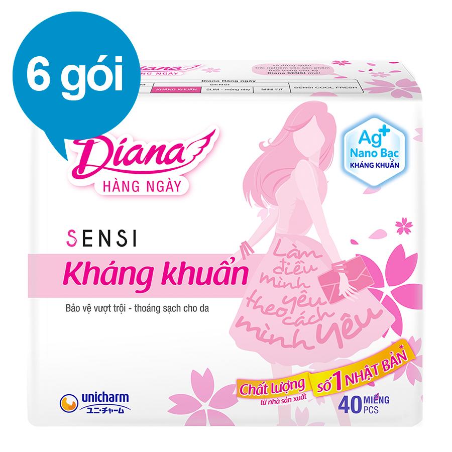 Combo 6 Băng Vệ Sinh Diana Daily Sensi Siêu Thấm Kháng Khuẩn (Gói 40 Miếng)