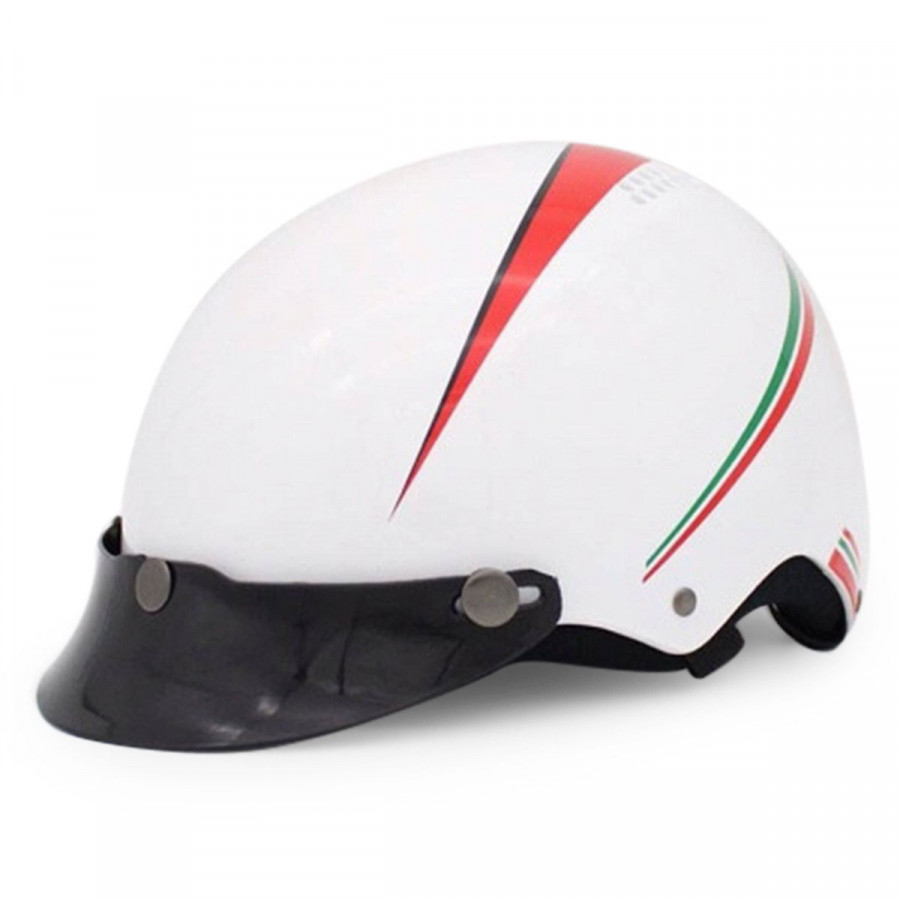 Mũ bảo hiểm nửa đầu Protec VIC kẻ trắng không kính VIXLWF