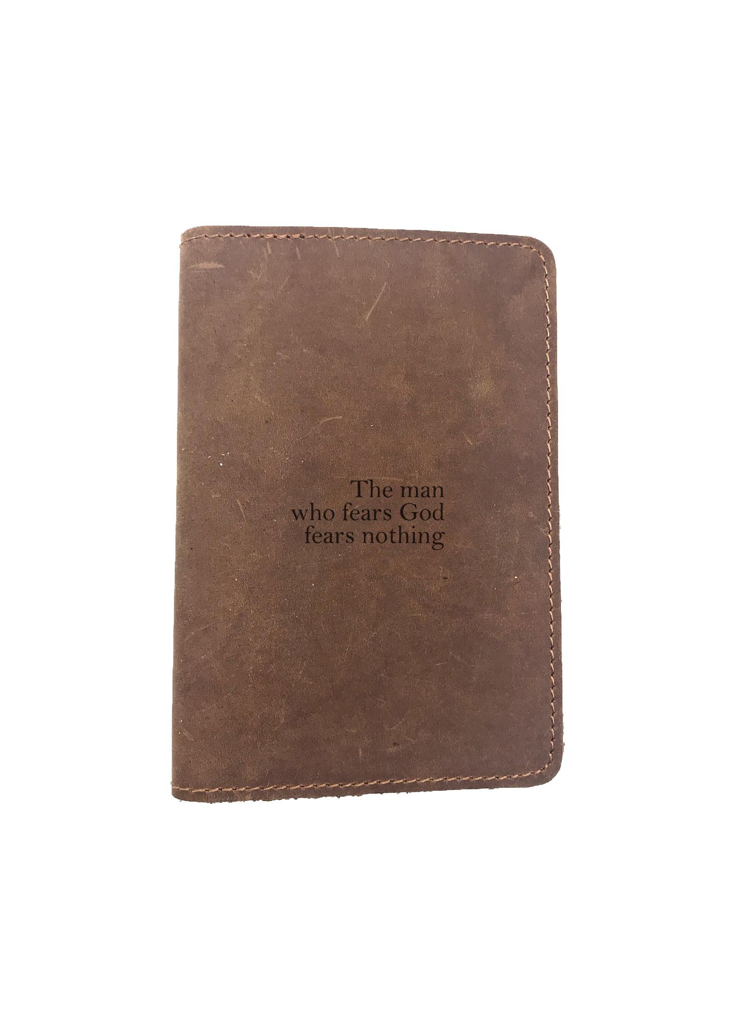 Passport Cover Bao Da Hộ Chiếu Da Sáp Khắc Hình Chữ CHRISTIAN THE MAN WHO FEARS GOD FEARS NOTHING (BROWN)