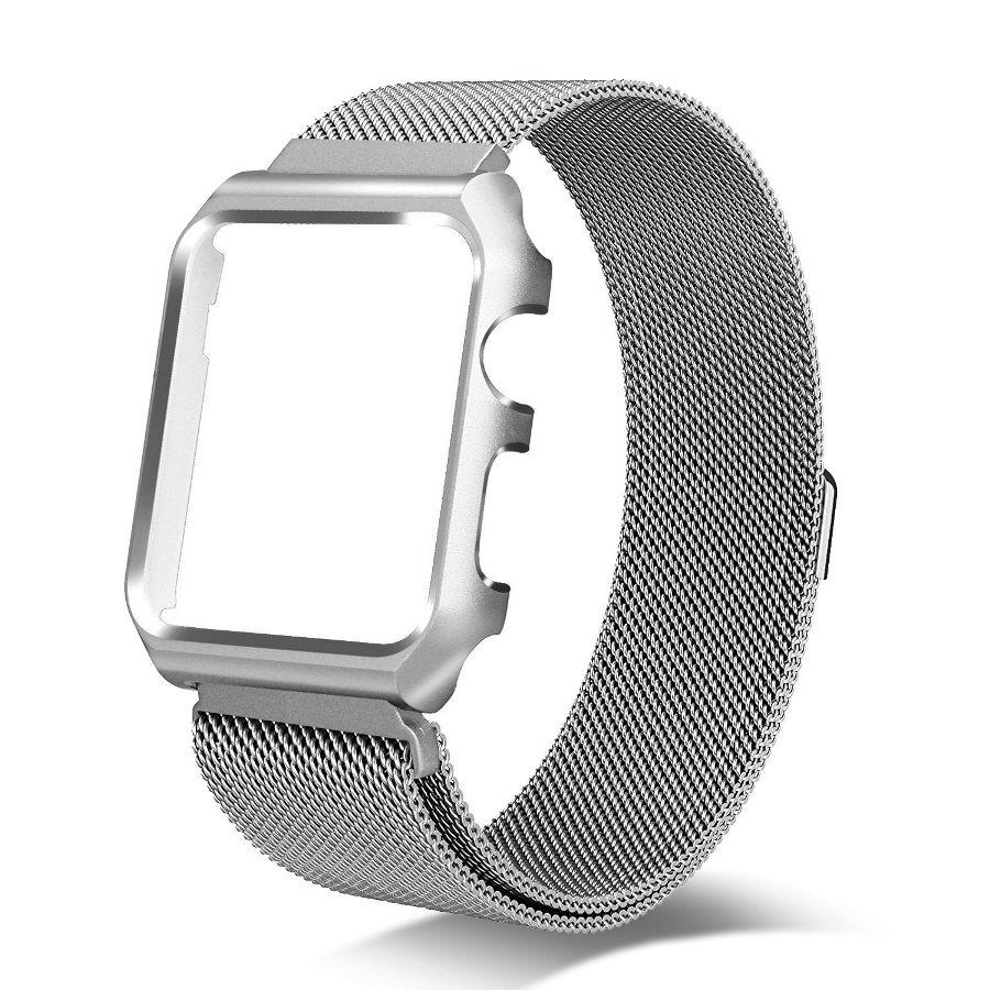 Dây đeo đồng hồ Apple Watch thép lưới kèm ốp 44mm