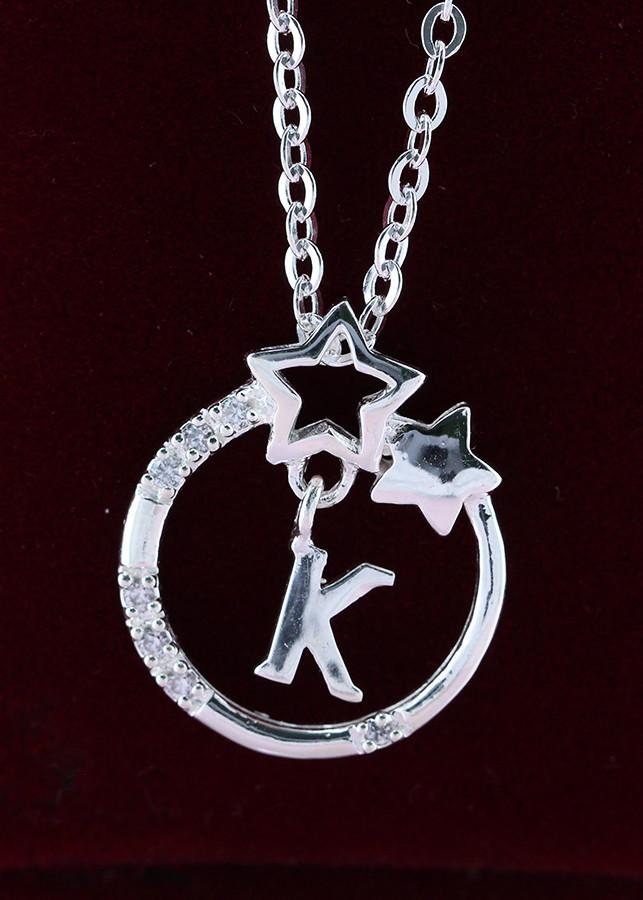 Dây chuyền bạc nữ mặt trăng sao khắc tên chữ K DCN0286