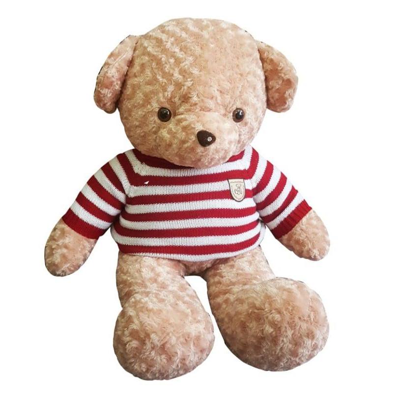 Gấu bông 1m2 áo kẻ len - Màu be