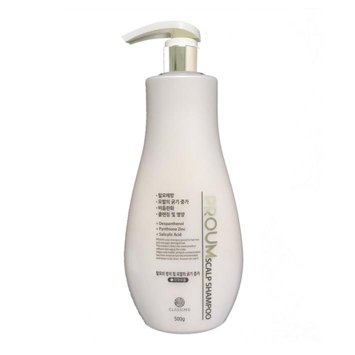 Dầu gội làm sạch da đầu giảm rụng tóc cấp ẩm dưỡng tóc bóng khỏe Classimo Proum Scalp Shampoo, Hàn Quốc 500g