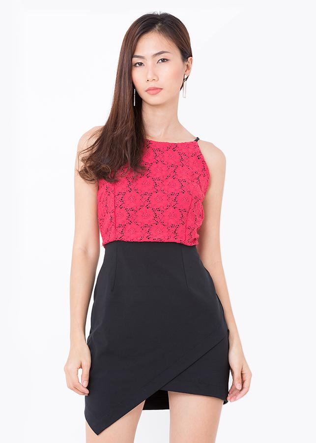 Đầm Yếm Phối Ren - Đỏ - Citino