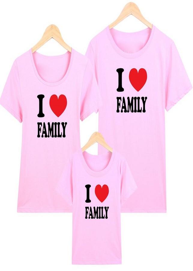 Áo gia đình hồng I love family