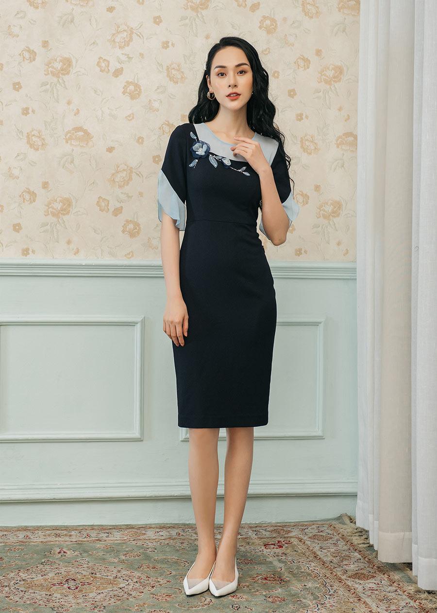 DH1834 Đầm Luxury ôm ngực tay phối vải