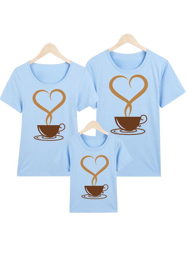 áo thun gia đình xanh CAFÉ TIM YÊU THƯƠNG -ATNK1077