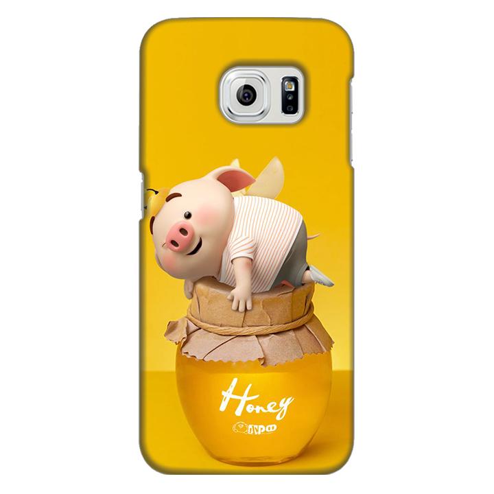 Ốp lưng nhựa cứng nhám dành cho Samsung Galaxy S6 Edge in hình Heo Cute