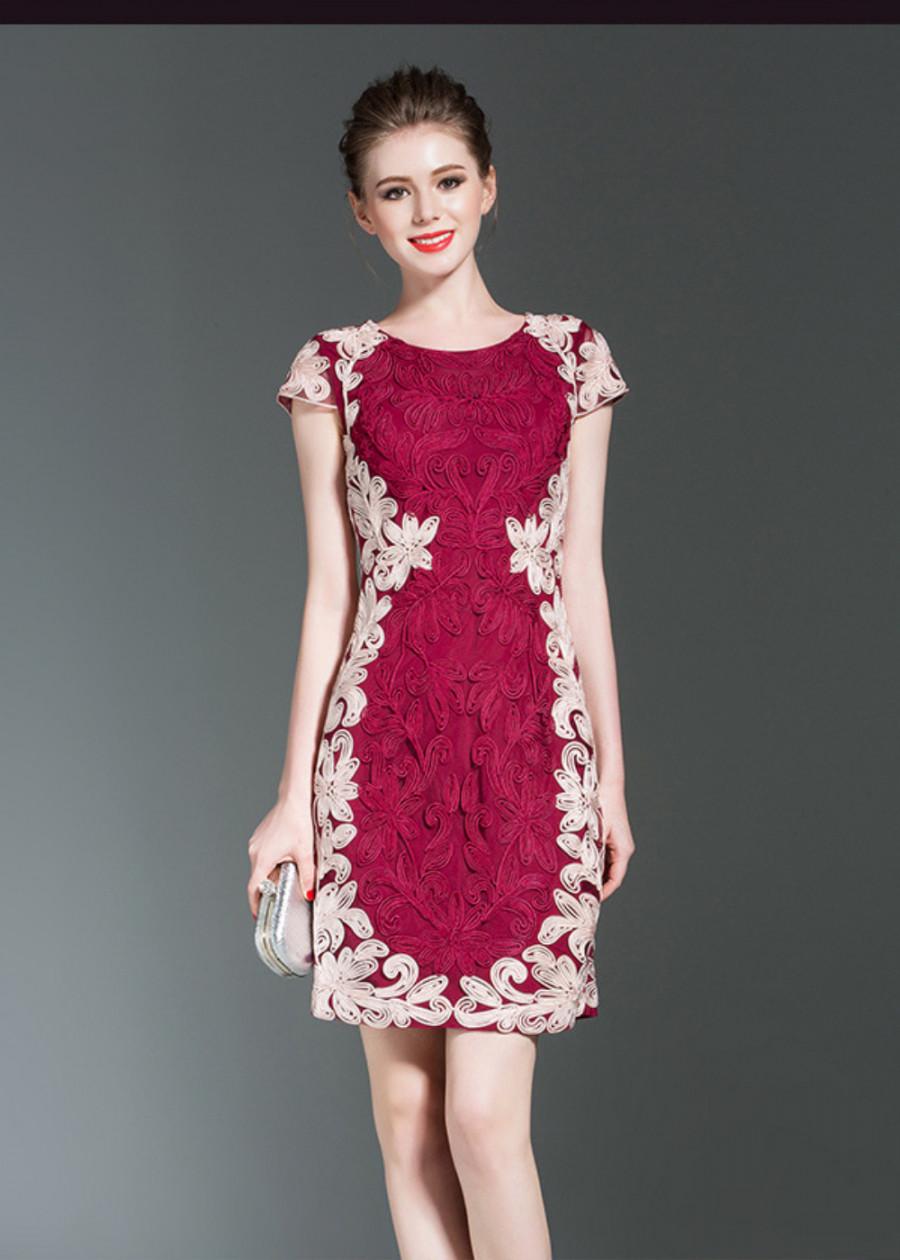 Đầm trung niên đẹp U30, U40,U50, đầm dự tiệc đẹp, đầm công sở đẹp ren suông cổ tròn có tay phối màu đỏ...