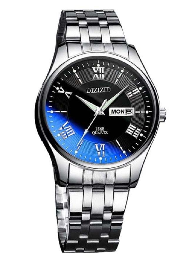 Đồng hồ nam DIZIZID dây thép không gỉ có lịch thứ, lịch ngày mặt kính lồi đổi màu coa cấp DZLT1
