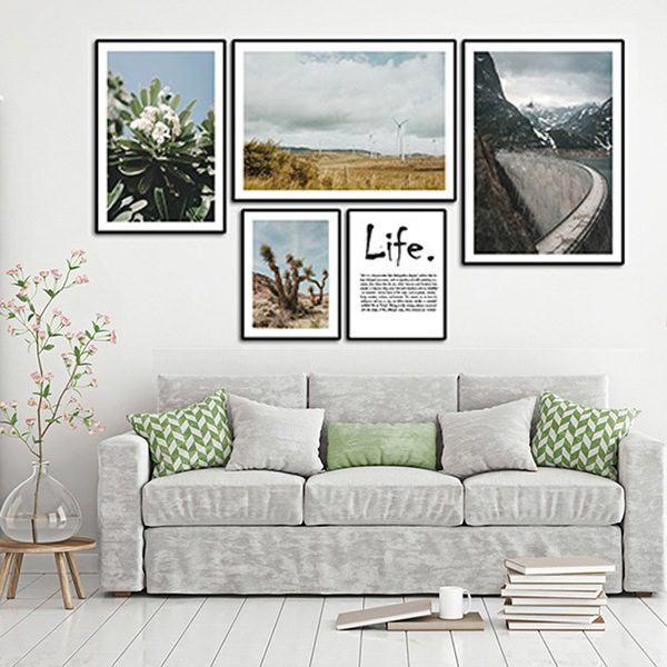 Bộ 5 tranh thiên nhiên cánh đồng con đường và chữ hiện đại MS0515