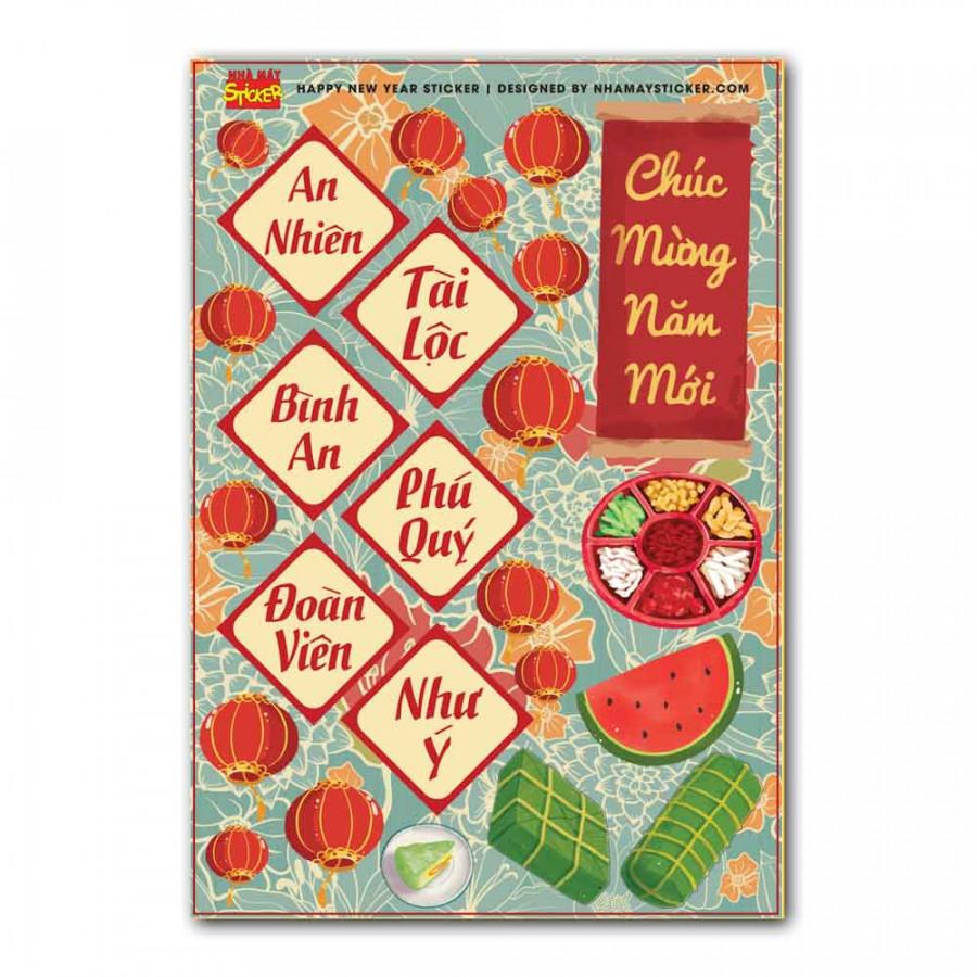 Sticker decal hình dán trang trí tết - Chúc Mừng Năm Mới