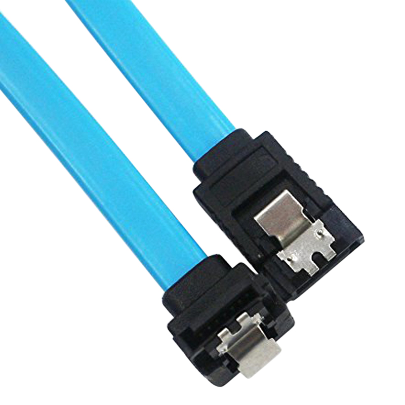 18 Inches SATA III 6.0 Gbps Cable Cord with Locking Latch 90 Degree Plug Wire Blue