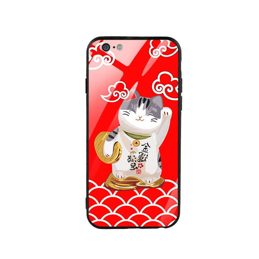 Ốp lưng kính cường lực cho điện thoại Iphone 6/6s - Mèo May Mắn 01
