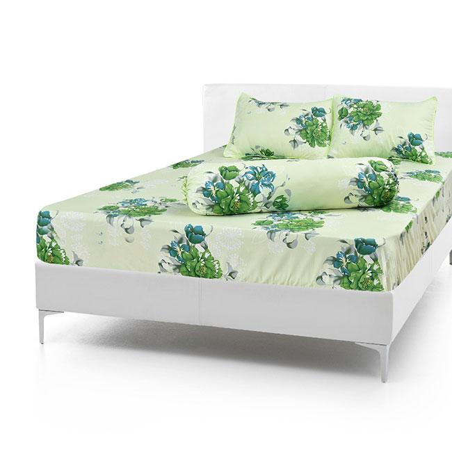 Bộ Drap Cotton Vải Thắng Lợi Áo Gối Chần Gòn 1,8x 2m hoa xanh lá