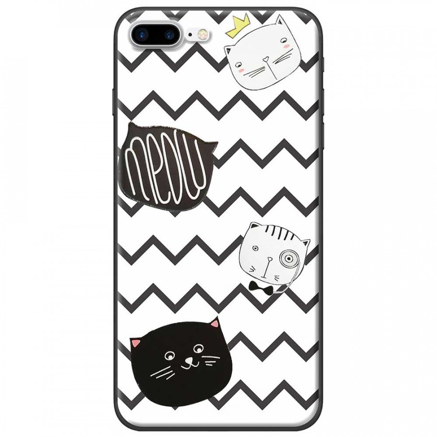 Ốp lưng dành cho iPhone 7 Plus mẫu Mèo trắng đen sọc