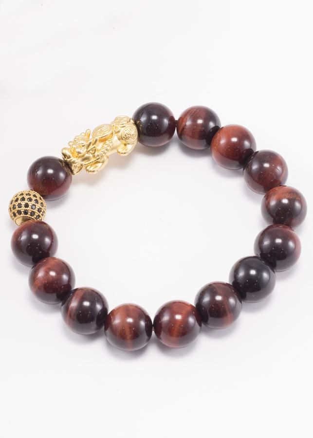Vòng Tay Nam Đá Mắt Hổ Nâu Đỏ Phối Tỳ Hưu Bạc Mạ Vàng 24K Ngọc Quý Gemstones
