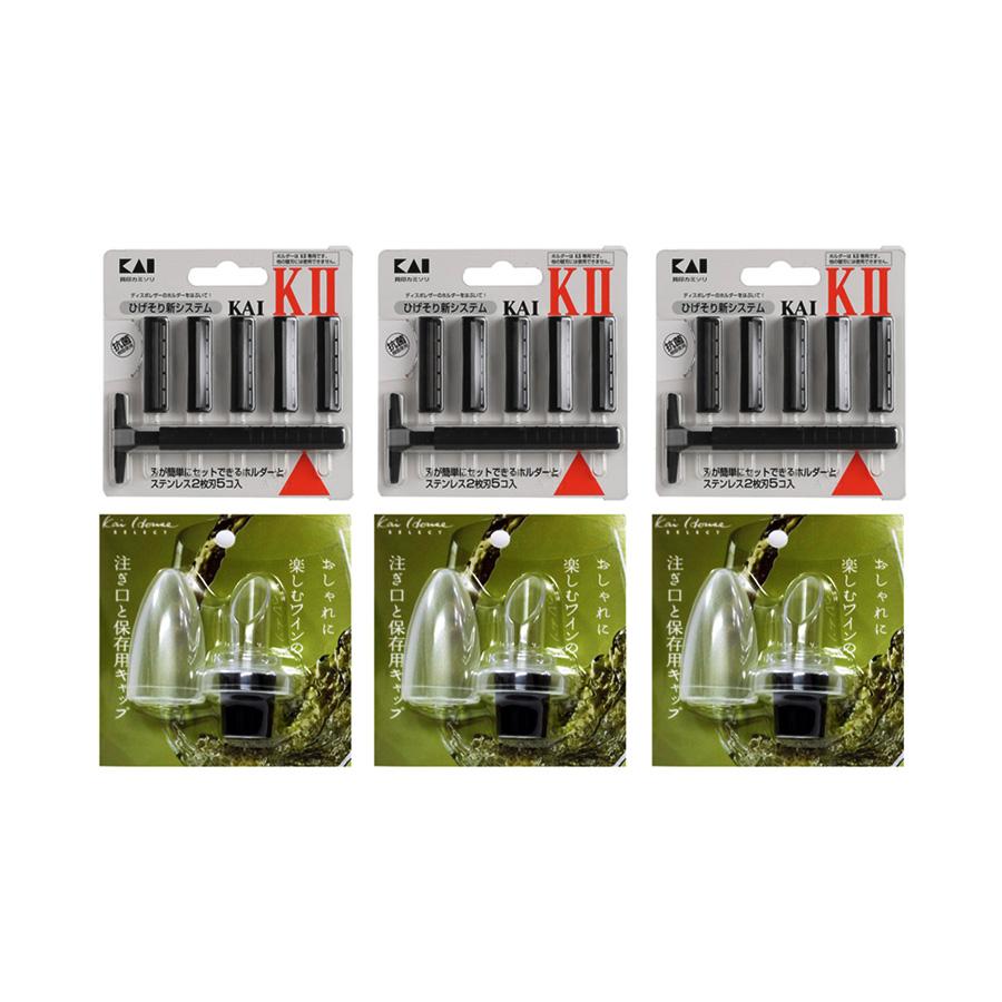 Combo Nút Đậy Nắp Rượu Tiện Dụng + Dao Cạo Râu 2 Lưỡi Kép KAI (1 Thân, 5 Lưỡi) - Nội Địa Nhật Bản - 827585 , 4609766710497 , 62_11422327 , 690000 , Combo-Nut-Day-Nap-Ruou-Tien-Dung-Dao-Cao-Rau-2-Luoi-Kep-KAI-1-Than-5-Luoi-Noi-Dia-Nhat-Ban-62_11422327 , tiki.vn , Combo Nút Đậy Nắp Rượu Tiện Dụng + Dao Cạo Râu 2 Lưỡi Kép KAI (1 Thân, 5 Lưỡi) - Nội Đị