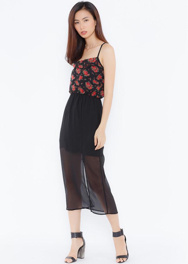 Đầm maxi họa tiết hoa phối chân váy đen
