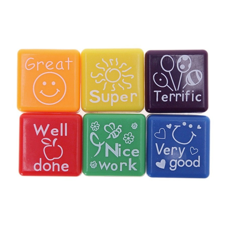 Bộ 6 Con Dấu Giáo Viên Lời Khen Teacher Praise Reward Stamps (Tặng kèm Giấy Note Cute)