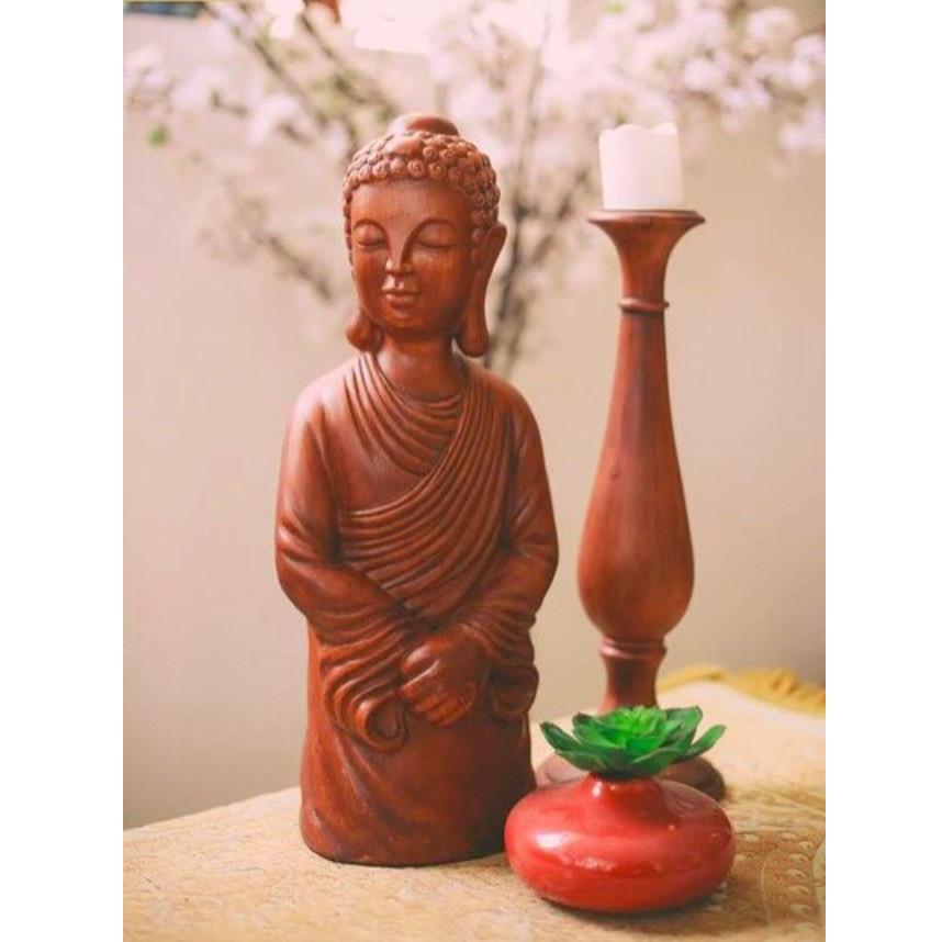 Tượng Đức Phật Bán Thân Màu Nâu Sòng