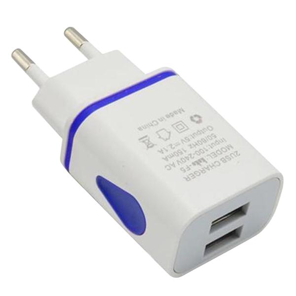 Blue Dual Usb US/EU Plug Travel