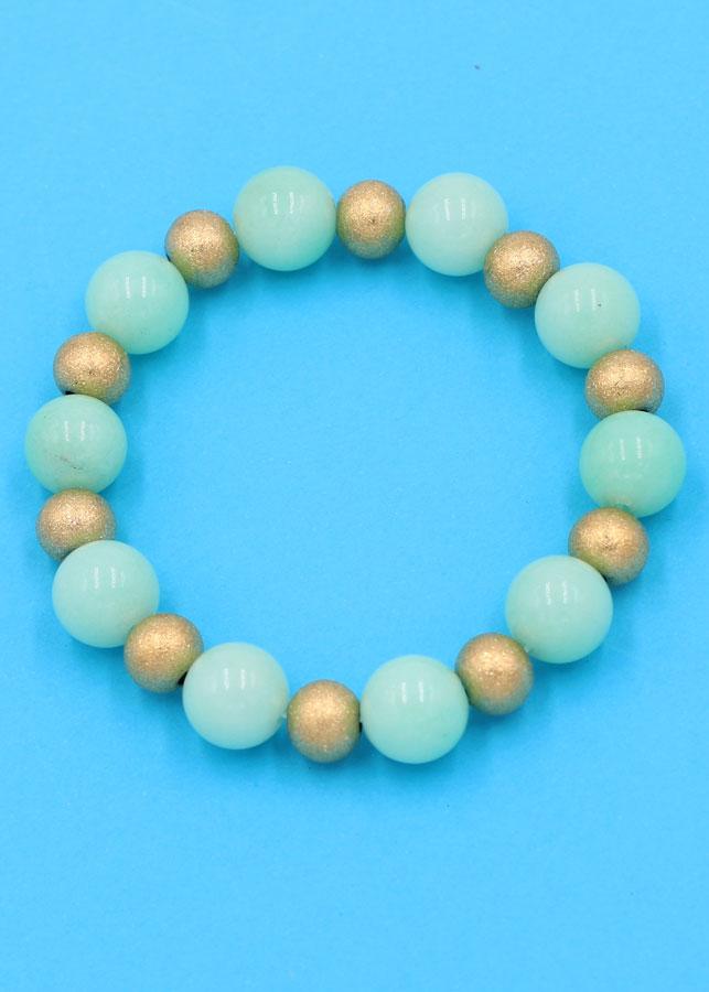 Chuỗi đeo tay - đá ngọc bích xanh 10 ly VNBXHVT1 - hợp mệnh Mộc, mệnh Hỏa