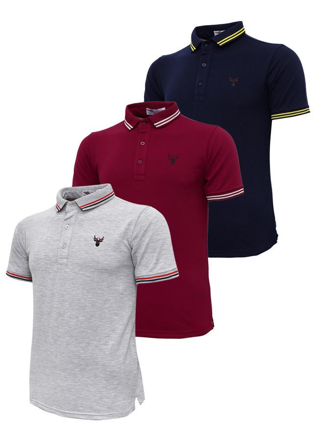 Bộ 3 áo thun nam cổ bẻ logo ép 3D chuẩn phong độ Pigofashion AHT16 xanh đen, đỏ ,xám