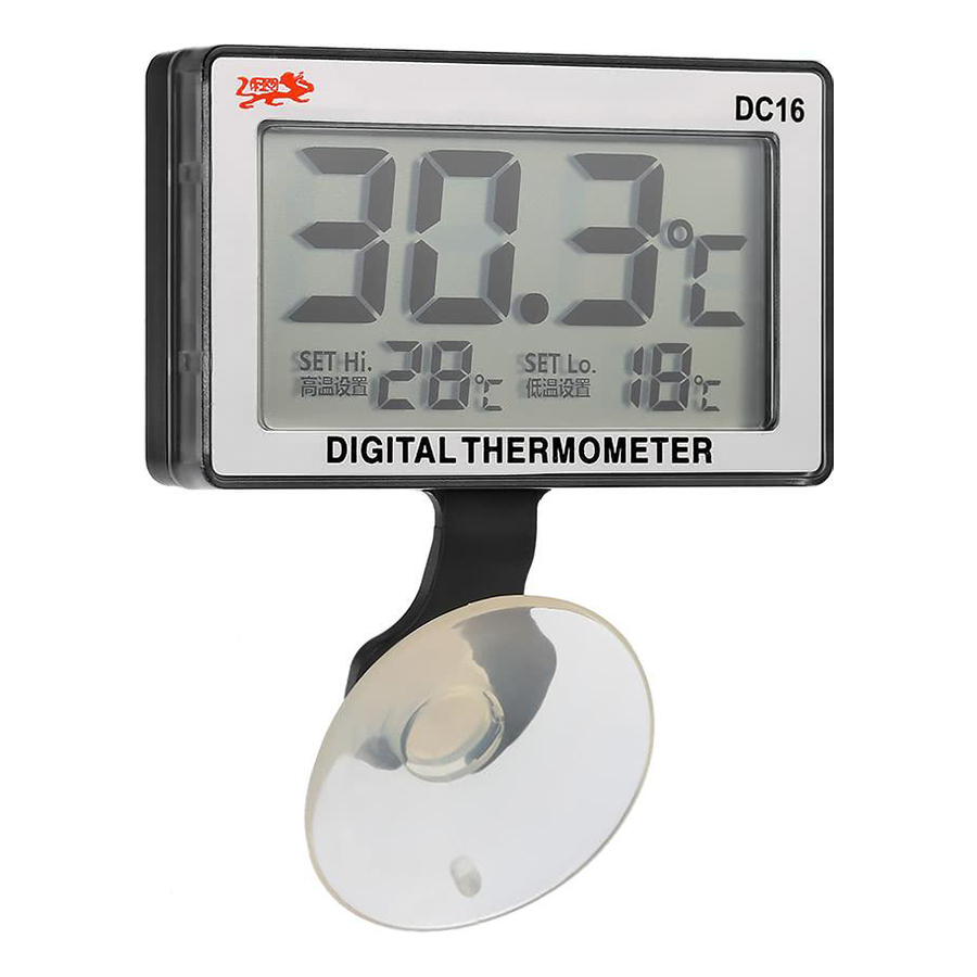 LCD Digital Fish Tank Aquarium Thermometer Submersible Water Temperature Meter 0°C~50°C High/Low Temperature Alarm