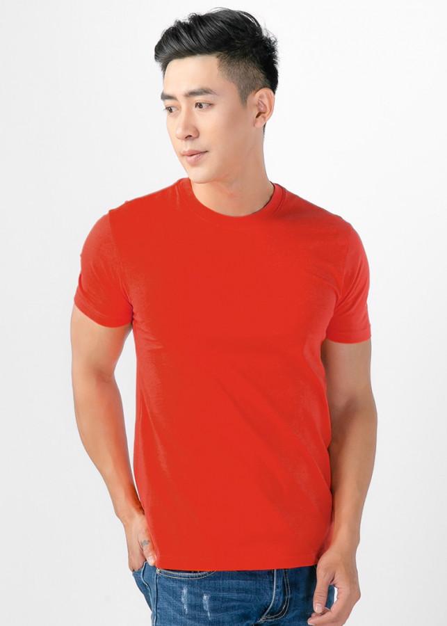 Áo thun nam cổ tròn màu cam