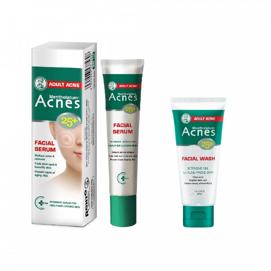 Tinh Chất Chuyên Biệt Cho Da Mụn Tuổi Trưởng Thành Acnes 25+ Facial Serum (20ml) + Gel Rửa Mặt Acnes 25+ Facial Wash (25g)