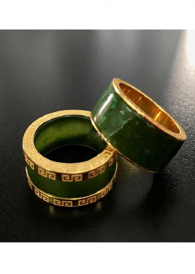 Nhẫn Cặp Ngọc Bích Canada Ốp Vàng 18k Cực Sang Cỡ Lớn