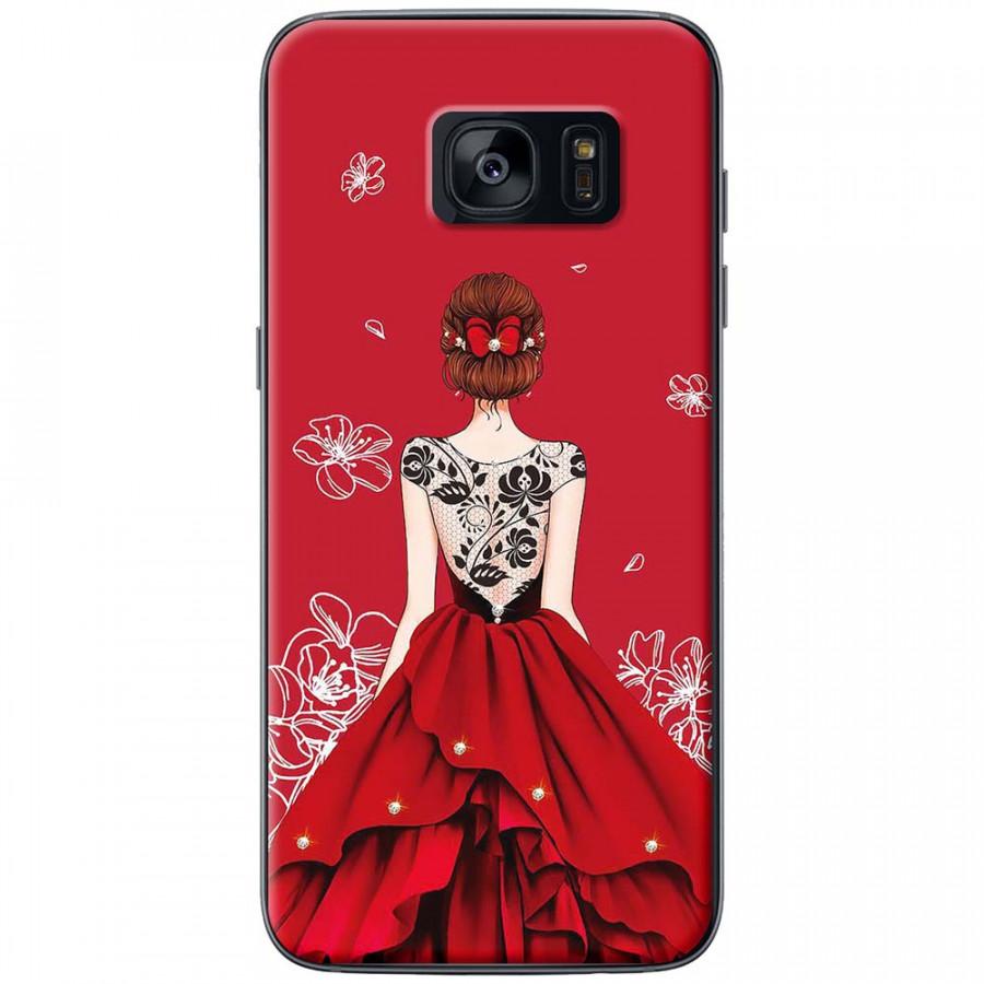 Ốp lưng dành cho Samsung S7 Edge mẫu Cô gái váy đỏ áo đen