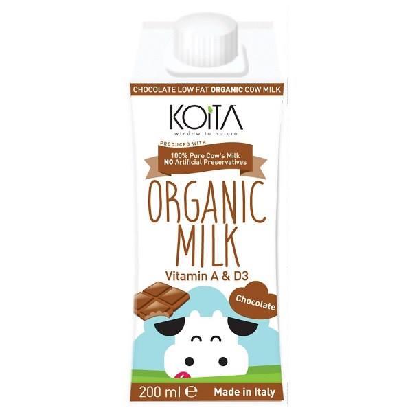 Sữa bò hữu cơ vị socola ít béo Koita (200ml)