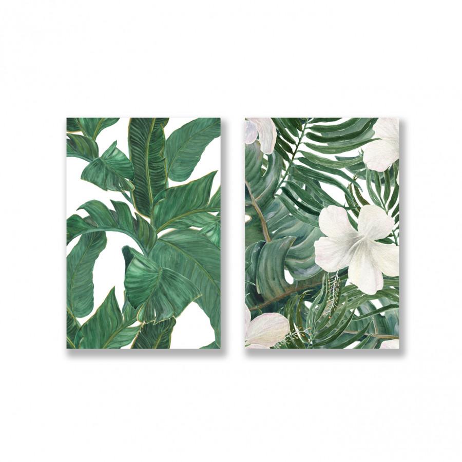 Bộ tranh Green Leaves Pattern, Tropical, Botanical SE159