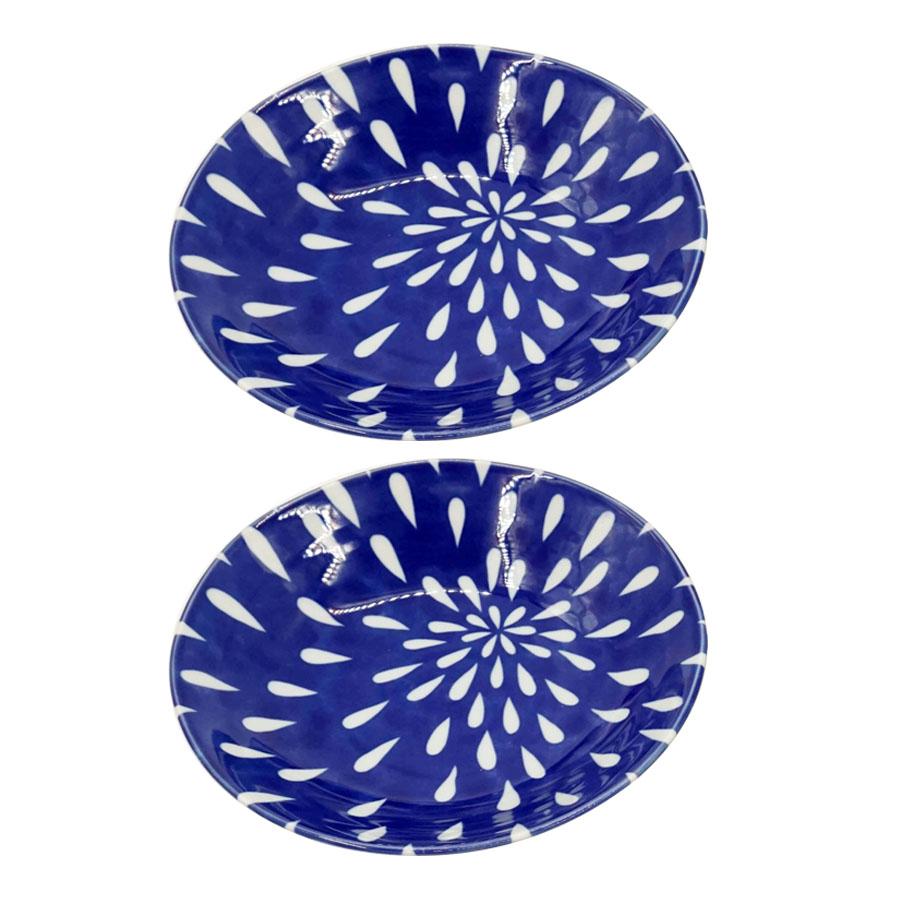 Combo 2 đĩa sứ ceramic men lam hoa cúc cao cấp - Hàng Nội Địa Nhật
